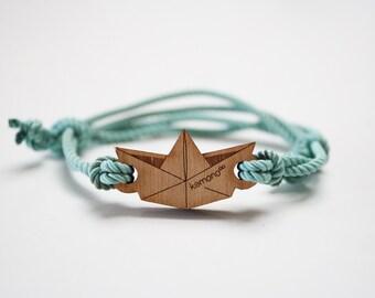 Kemono Cuff Bracelet paper boat-wood edition-wood