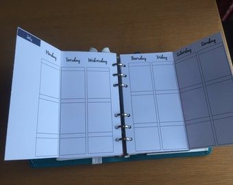 Week To View Vertical Personal Inserts with Month Labels