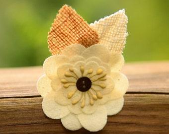 Rustic Flower Hair Clip