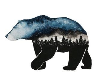 Wild Starry Sky Bear || Art Print, Surrealism Art, Decor Art