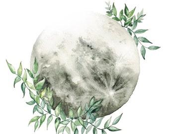 Greenery Embrace Moon || ART print || moon with leaves, Moon Decor, Luna, Boho, Decor Art, Space Art, Giclee Prints