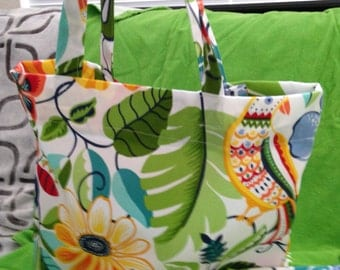 Large Totebag/Beach Bag with Flowers and Birds