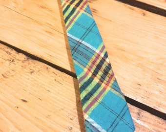 Turquoise Plaid Tie