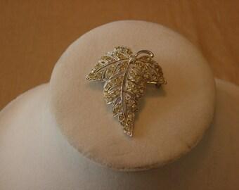 ORA Rhinestone Leaf Brooch Vintage