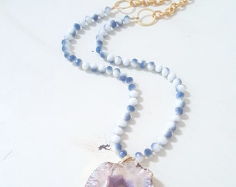 Light Pink Druzy pendant necklace