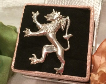 Spectacular Solid Silver Vintage ANTIQUE Victorian RAMPANT LION Brooch-Stamped for 800 Silver-Extremely Attractive Piece