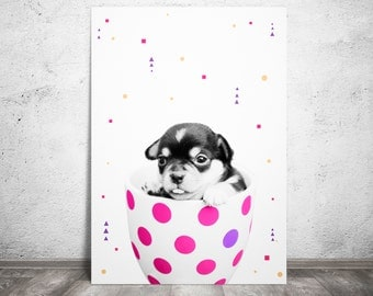 Dog Print, Room Decor, Nursery Print, Puppy Wall Art, Digital Prints, Dog Poster, Nursery Wall Art, Pink and White Printable, Large 20x30