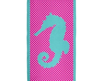 Aqua Seahorse Polka Dot All Over Terry Cloth Towel
