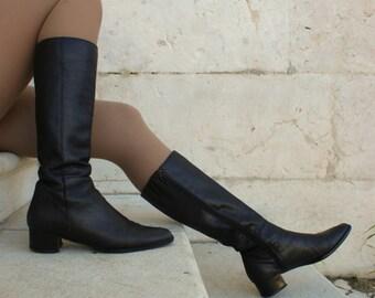 Vtg black soft leather boots