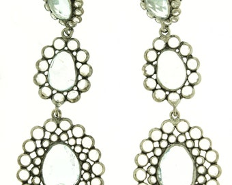 White Topaz and Blue Topaz in Sterling Silver Earrings