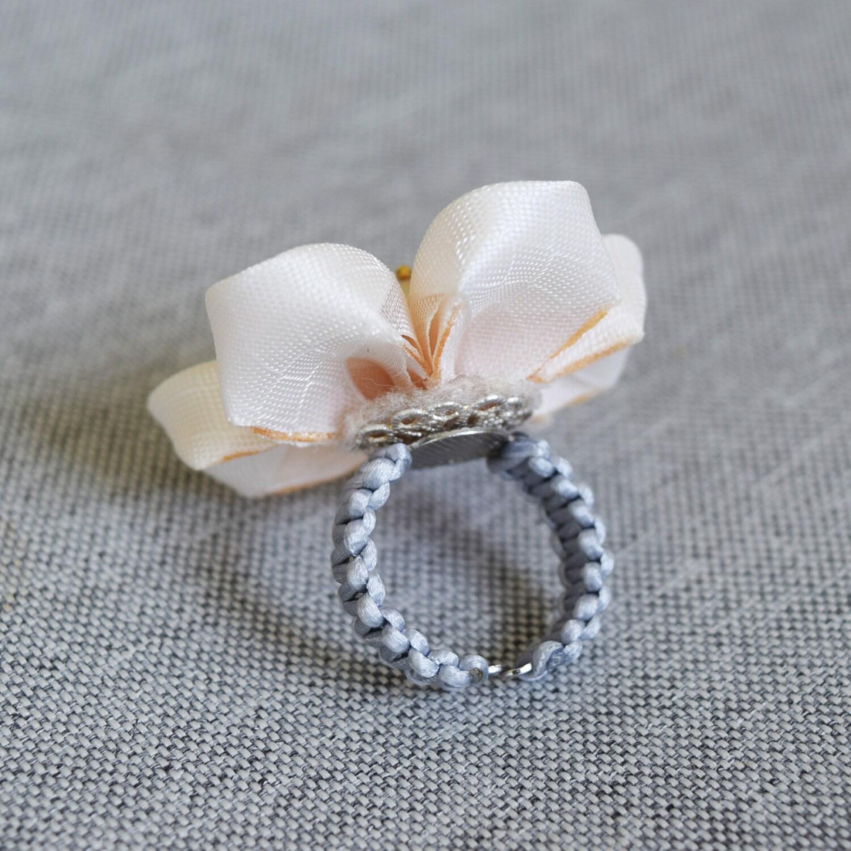 Kanzashi Flower Ring Big Flower Statement Ring Fabric Ring