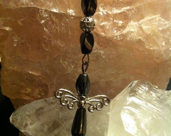 Necklace hematite with little angel