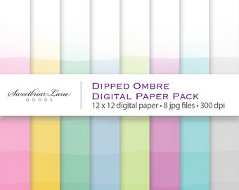 Dipped Ombre Watercolor Digital Scrapbook Paper for instant download