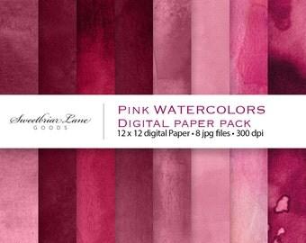 Pink Watercolors Digital ScrapbookPaper for instant download