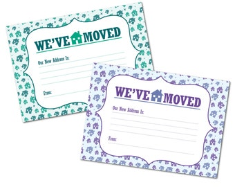 Moving House / NEW Home Notification Cards, Pack of 16, House Pattern Design