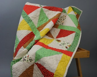 Vintage Crib Quilt Bright Colors and Summer Activities White Back 42 inch Square Excellent Condition