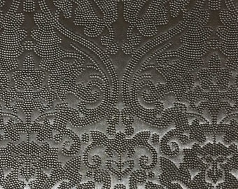 Vinyl Upholstery Fabric - Lyon - Pewter - Damask Designer Pattern Vinyl Fabric Home Upholstery Fabric by the Yard - Available in 8 Colors