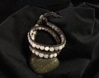 Beautiful one of a kind stone leather wrap bracelet, chan luu style fashion, bohemian style beaded jewelry