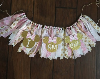 Pink and gold minnie mouse themed high chair skirt and small banner