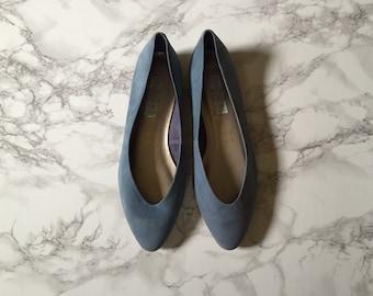 ocean blue suede ballet flats / vintage ballet flats / size 8