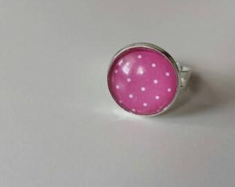 Ring pink white polka dot