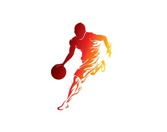 Flame Basketball Player - Vinyl Decal