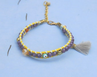 Bracelet GYPSY Pompom grey