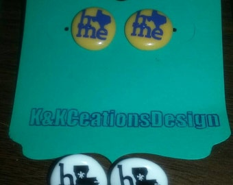 Beautiful Perler Dime size earrings with a permanent decal design.