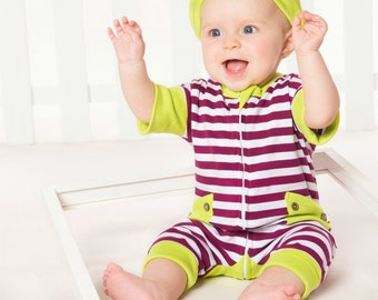 Pink and white striped zip up romper with yellow pockets and trim