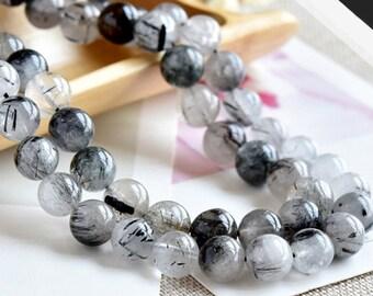 Natural Black Rutilated Quartz, Natural Stone Beads, Crystal, Round Beads, Semi Precious, Gemstone Beads, Beads, 6 7 8 9 10 mm, (CB022)