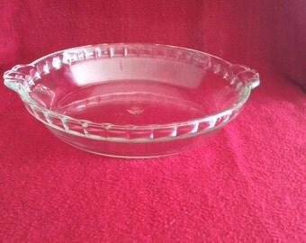 """Pyrex JAJ Clear Glass Fluted 9"""" Flan or Pie Dish"""