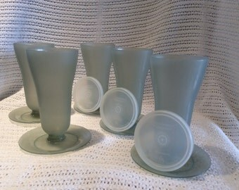 Tupperware Parfait Cups with Bases Smokey Grey 1970's