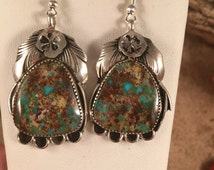 Vintage Silver Ray Royston Turquoise & Sterling Dangle Earrings signed