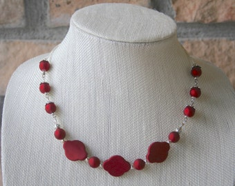 Matte Red Necklace | Red Jewelry | Beaded Necklace | Statement Necklace | Everyday Jewelry | Gifts for her | Handmade Jewelry