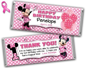 Minnie Mouse Candy Bar Wrappers Personalized, Printed or Digital File, Minnie Mouse Birthday Candy Wrapper, Minnie Mouse Hershey Bar Wrapper