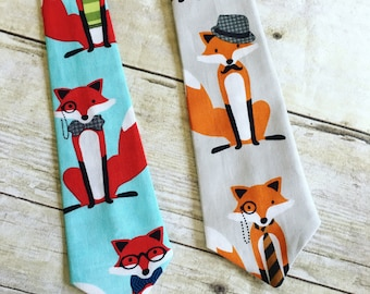 Toddler Tie in Fancy Foxes, Little Boy Tie, Infant Tie, Newborn Ties, Fox Tie, Boys Ties, Toddler Necktie, Blue Tie, Boys Necktie