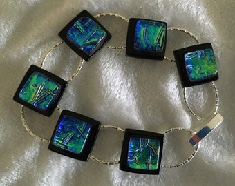 Blue and Green Dichroic Glass Bracelet