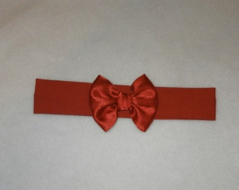 Baby's Bright Red Cotton Lycra Hair Band with Satin Bow 0-36 months Headband