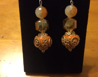Orange crystal dangles