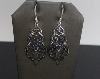 Hand Made 3 Levels Filigree Earrings Sterling Silver .925