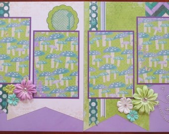 Enchanted Garden - Friends - Family - Gardening - 12X12 Premade Double Page Scrapbook Layout