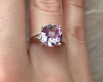 10mm Pink Amethyst / Sterling Silver Ring