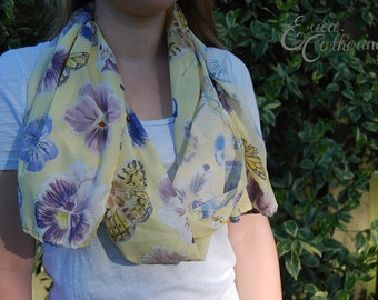 Pansy and Butterfly Illustrated Pattern Scarf