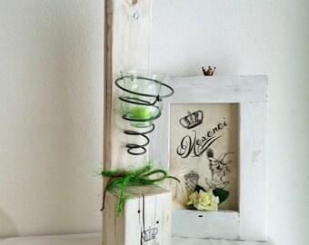 Pallets - hanging lanterns - shabby
