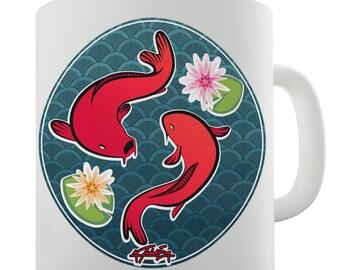 Decorative Red Fish Ceramic Funny Mug