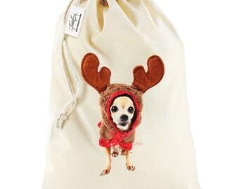 Christmas Reindeer Chihuahua Stocking Christmas Santa Sack
