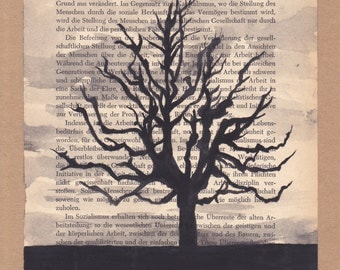 Hand Painted Tree on Book Page