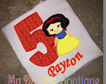 Snow White Birthday shirt infant bodysuit embrodiery and applique