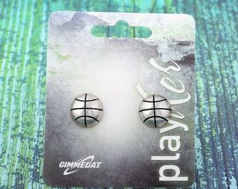 Basketball Post Earrings, Silvertoned - Great Basketball Gift! Free Shipping!