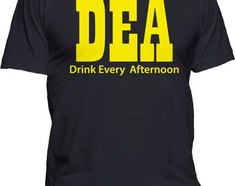 Men's T-Shirt DEA Drink Every Afternoon Graphic Tee Funny College Drinking Party Clothing